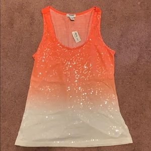 Sequined Old Navy Orange Ombré Tank NWT